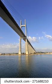 The Suez Canal Bridge, also known as the Shohada 25 January Bridge, Egyptian-Japanese Friendship Bridge, Al Salam Bridge, Al Salam Peace Bridge or Mubarak Peace Bridge