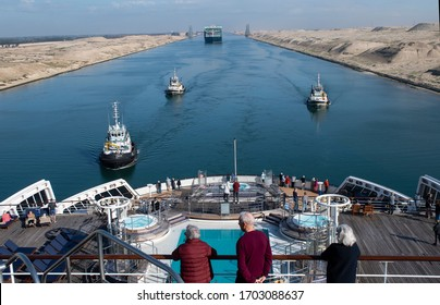Suez Canal, Egypt. January 23 2020: The Queen Mary 2 transits the Suez Canal on its 2020 World Cruise.