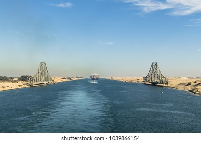 Suez Canal, Egypt- November 5, 2017: Panoramic view of El Ferdan Railway Bridge, the longest swing bridge in the world, runs from the west of Suez Canal to the east into Sinai