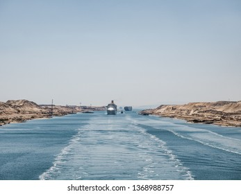 Suez Canal. View from a cruise liner. Concept of leisure travel