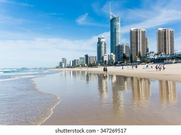 Sufers Paradise, Australia - Circa May 2014 - People walking at the beach of surfers paradise