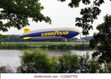SUFFIELD, OHIO / USA – JUNE 09 2018: The Goodyear blimp Wingfoot One docked on June 09, at Wingfoot Lake, Suffield, Ohio. This is at Blimp Base One, home of the Goodyear Blimp.