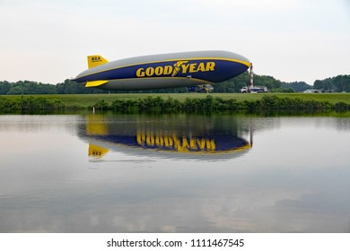 SUFFIELD, OHIO / USA – JUNE 09: The Goodyear blimp Wingfoot One docked on June 09, at Wingfoot Lake, Suffield, Ohio. This is at Blimp Base One, home of the Goodyear Blimp.