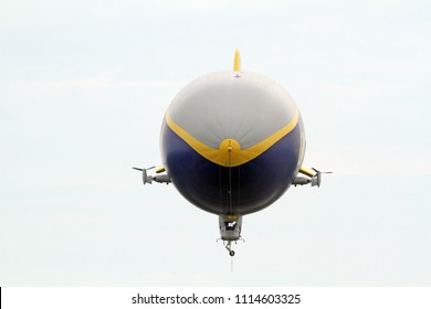 SUFFIELD, OHIO / USA – JUNE 16: The Goodyear blimp Wingfoot One on June 16, flying above Wingfoot Lake, Suffield, Ohio. This is at Blimp Base One, home of the Goodyear Blimp