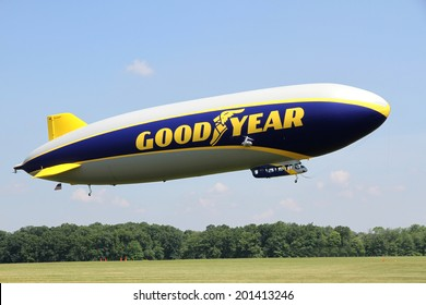 SUFFIELD, OHIO, USA - June 28, 2014: The Goodyear Zeppelin NT flying at the Airship Base in Suffield, Ohio.