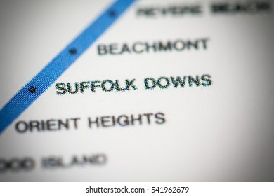 Suffolk Downs Station. Boston Metro map.