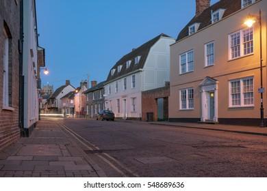 Suffolk street scene in Suffolk, East Anglia, UK.