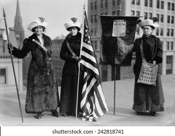 The Suffrage Hike of 1912 from Manhattan to Albany was staged to bring attention to issue of women's suffrage. Women suffrage hikers Jessie Stubbs, General Rosalie Jones, and Colonel Ida Craft.