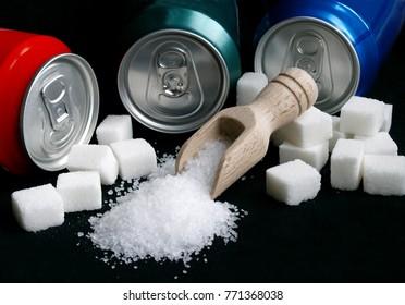 sugar adiction: three soda cana and sugar