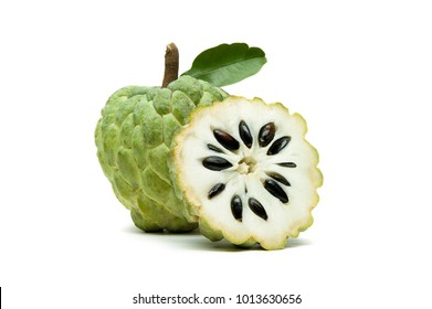 Sugar apple or custard apple with slice and green leaf isolated on white background, exotic tropical Thai annona or cherimoya fruit, healthy food