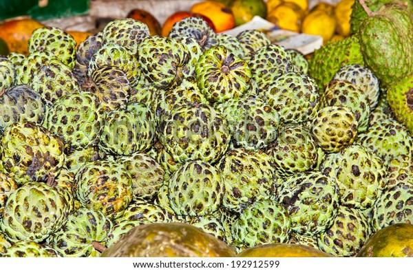 Sugar Apple Exotic Fruits Market Nairobi Stock Photo (Edit Now