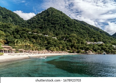 Sugar Beach in Saint Lucia, Caribbean island, one of the most famous and most beautiful beaches in the world
