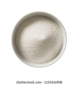 Sugar in bowl.  Preparing ingredients for cooking.