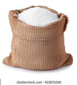 sugar in burlap sack isolated on white background