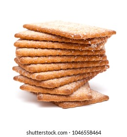 sugar and cinnamon thin dry cookies  isolated on white