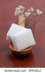 Sugar collection - white sugar cubes. Shallow dof