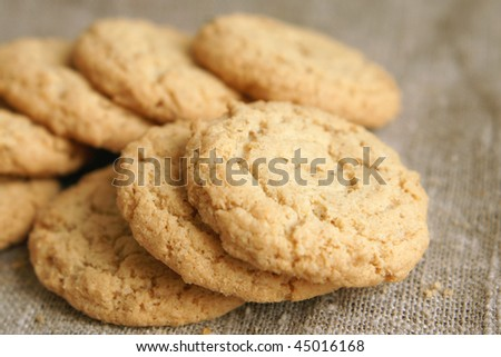 Sugar cookies on a cloth background