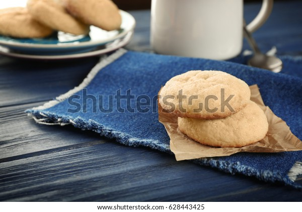 Sugar cookies on textile napkin, closeup