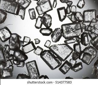 Sugar crystals under the microscope.