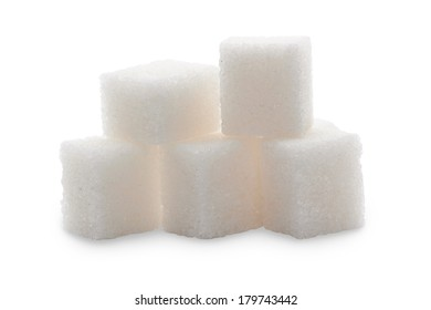 Sugar cubes isolated on a white background