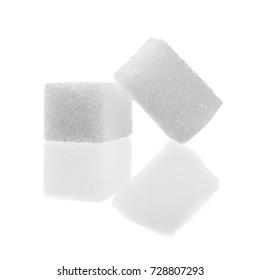 Sugar cubes isolated on white background.