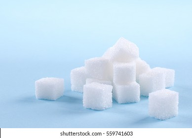 sugar cubes on an isolated background