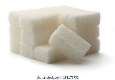 Sugar cubes on the white background