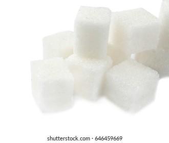 Sugar cubes on white background