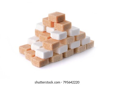 Sugar cubes on a white background.