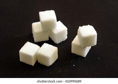 Sugar cubes, stacked.