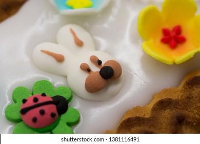 Sugar decorations on an Easter cake -  Mazurek.