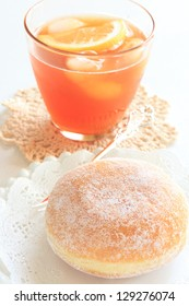 sugar donut and iced lemon tea