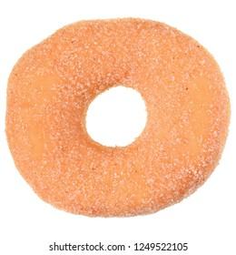 Sugar donut top view isolated on white background.
