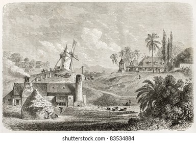Sugar factory in Guadeloupe, old illustration. Created by De Berard, published on Le Tour du Monde, Paris, 1860