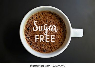 Sugar free word on Coffee cup concept