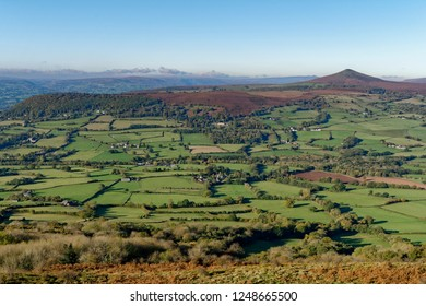 Sugar Loaf (596M), Abergavenny Black Mountains outlier viewed from Ysgyryd Fawr Monmouthshire, Wales