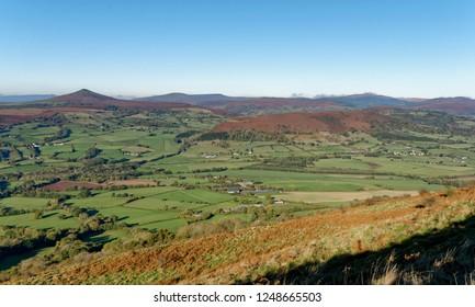 Sugar Loaf (left) & Byrn Arw (center right) viewed from Ysgyryd Fawr (Skirrid Fawr) with Partrishow Hill behind Abergavenny, Monmouthshire, Wales