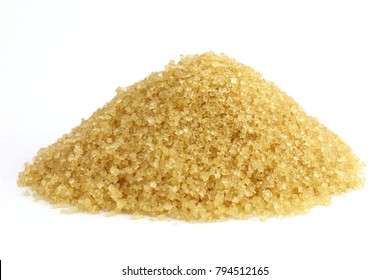 Sugar mountain shape granulated sugar yellow, Pile of brown sugar from sugarcane reed, Sucrose from sugar cane white background