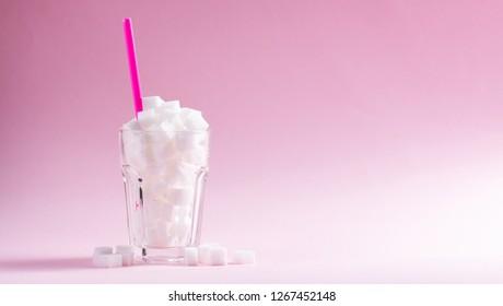 Sugar on pink background