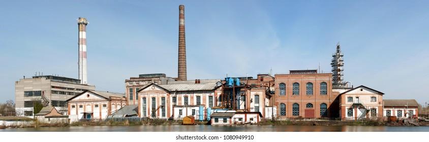 Sugar refinery nearby Kachanovka in Ukraine. Old plant. Factory.