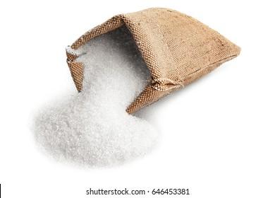 Sugar in sackcloth bag on white background