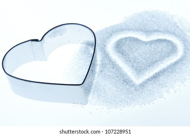 Sugar shape form of two hearts