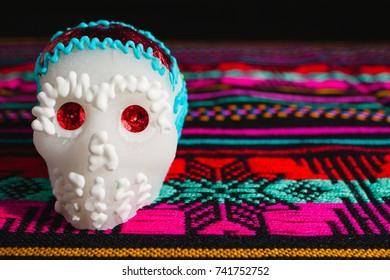 sugar skull or calaverita de azucar, dia de muertos or day of death mexico halloween