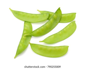Sugar snap peas isolated white background
