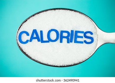 Sugar in a spoon and the word calories.