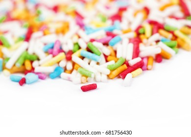 Sugar sprinkle dots, decoration for cake and bekery, a lot of sprinkles as a background. With copyspace