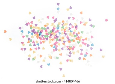 Sugar sprinkle dots hearts, decoration for cake and bakery, as a background