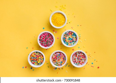 Sugar sprinkles, decoration for cake and ice-cream and cookies. Top view, Flat lay