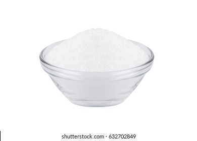 sugar substitute xylitol, a glass bowl with birch sugar isolated on white