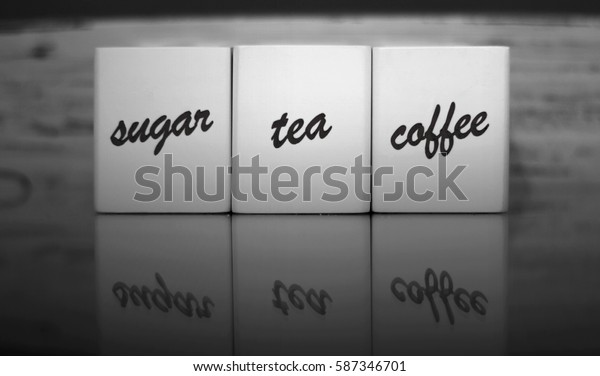 Sugar, tea, coffee symbols.